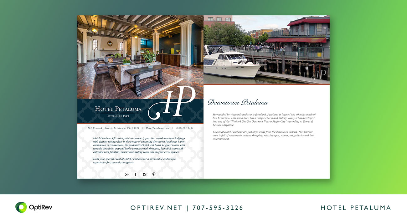 Hotel Petaluma Event Brochure Design