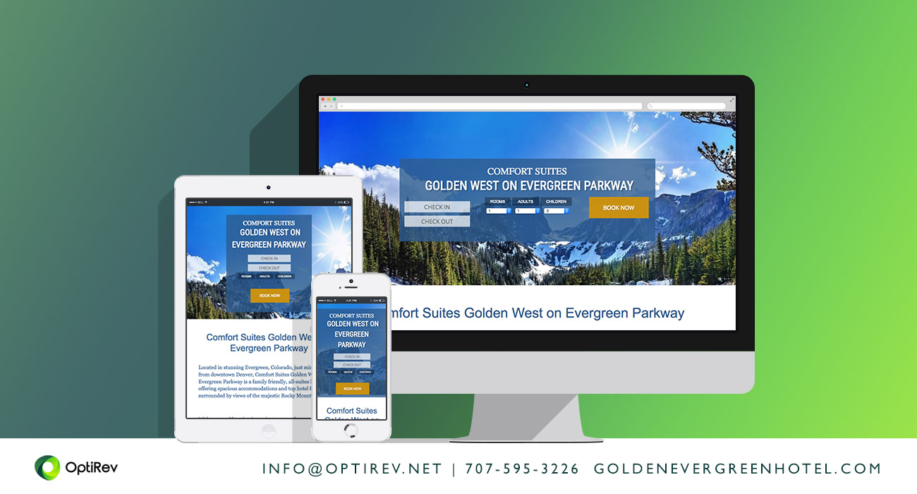 Comfort Suites Golden Evergreen Hotel website by OptiRev, LLC