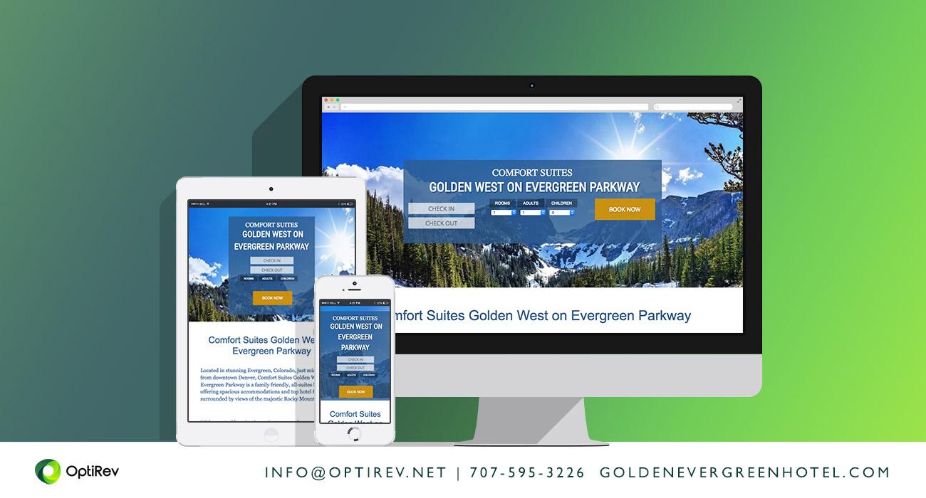 Comfort Suites Golden Evergreen Hotel website by OptiRev, LLC