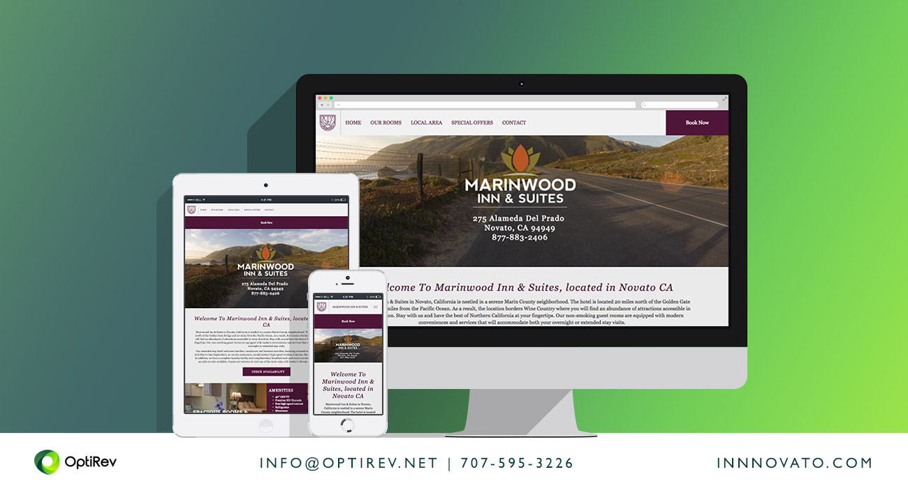 Marinwood Inn and Suites website by OptiRev, LLC