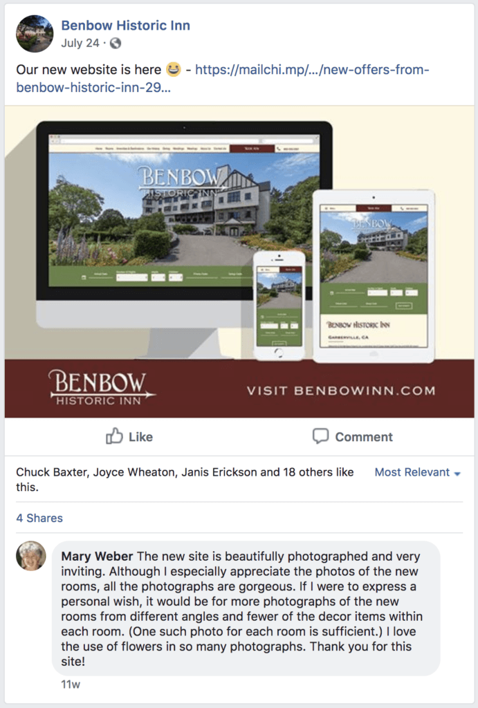 Benbow case study stats facebook comment
